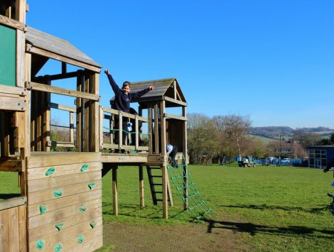 KS2 climbing frame on field at The Lea Primary School and Nursery