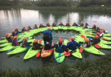 The Lea Primary School and Nursery Caythorpe PGL school trip pupils in canoes