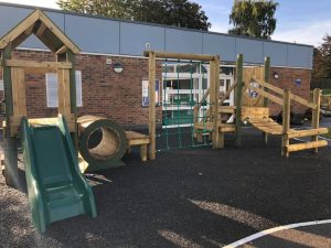 The Lea Primary School and Nursery climbing frame in Early Years playground