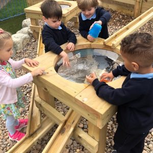 Nursery and Reception pupils playing with water table at The Lea Primary School and Nursery