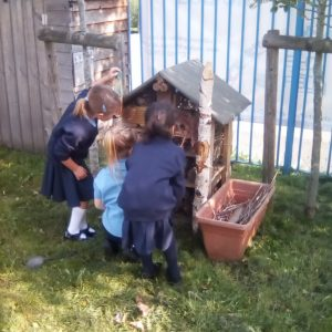 Reception pupils playing with the bug hotel at The Lea Primary School and Nursery