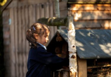 Girl pupil playing with the bug hotel at The Lea Primary School and Nursery