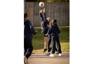 The Lea Primary School children playing netball