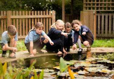 Happy Reception pupils looking at fish in the pond at The Lea Primary School